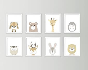 Neutral nursery decor - Cute nursery wall art - Nursery art set - Baby boy nursery art - Printable nursery art - Set of 8 animal posters