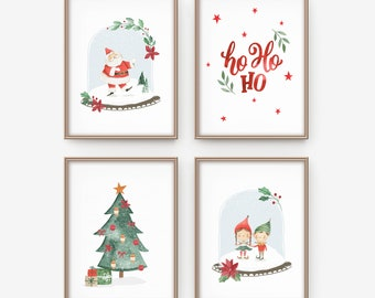 christmas decorations christmas prints wall art for kids christmas wall art christmas decor santa and elves printable christmas