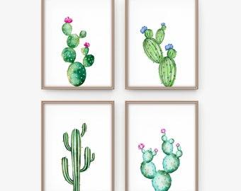 Cactus print set - Printable cactus set of 4 - Botanical prints - Cactus poster - Watercolor prints - Cactus wall art - Digital art