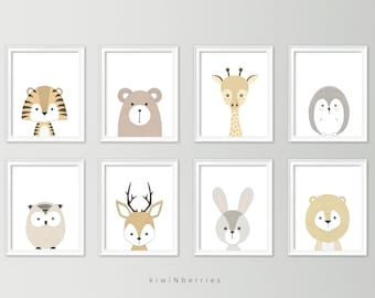 Neutral nursery decor - Cute nursery wall art - Nursery art set - Baby boy nursery art - Printable nursery art - Set of 8 animal posters