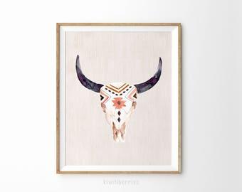 Bohemian watercolor print - Bull skull boho wall art - Horn art - Tribal pattern print - Printable watercolor art - Nature wall art