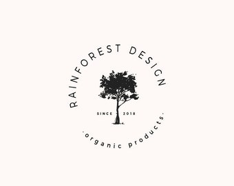 Tree logo design, Premade logo, Natural farmhouse shops, Rustic simple logo, Typography, modern, Professional, Simple tree logo, round logo