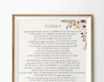 Desiderata print - Max Ehrmann poem - Desiderata poster - Desiderata printable - Literature Print - 11x14 16x20, Desiderata art print