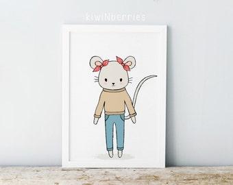 Mouse print - Nursery mouse print - Girls nursery decor - Animal illustration - Nursery wall prints - Printable gift - Printable nursery