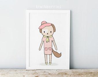 Dog print - Nursery dog print - Girls nursery decor - Animal illustration - Nursery wall prints - Printable gift - Printable nursery