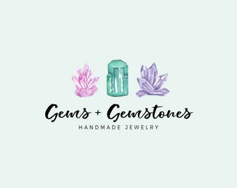 Gemstones logo - Premade logo design - Gems and crystals - Jewelry shop logo - Small business logo - watercolor logo - Bohemian logo