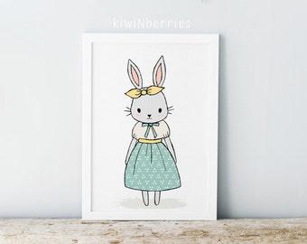Rabbit print - Nursery rabbit print - Girls nursery decor - Animal illustration - Nursery wall prints - Printable gift - Printable nursery