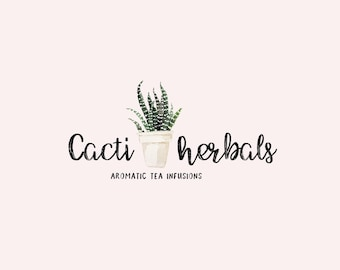 Watercolor logo design - Cactus Premade logo - Bohemian watercolor logo - Boho logo design - Branding for shops - Business logo