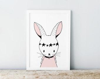 Rabbit illustration - Monochrome nursery - Black and white prints - Pale pink print - Nursery quotes - Nursery decor - Scandinavian