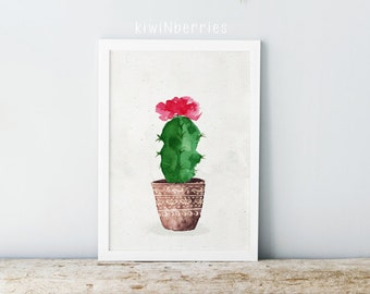 Cactus print - Printable cactus art - Botanical prints - Cactus poster - Watercolor prints - Cactus wall art - Digital art - Rustic decor