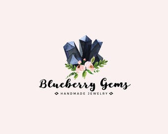 Gemstone logo - Premade logo design - Gems and crystals - Jewelry shop logo - Small business logo - watercolor logo - Bohemian logo