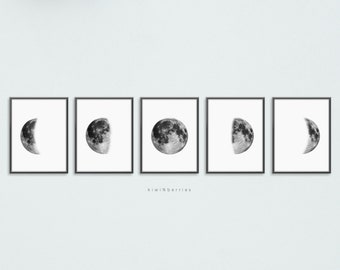 graphic regarding Moon Phase Printable identify Lunar stages print Etsy