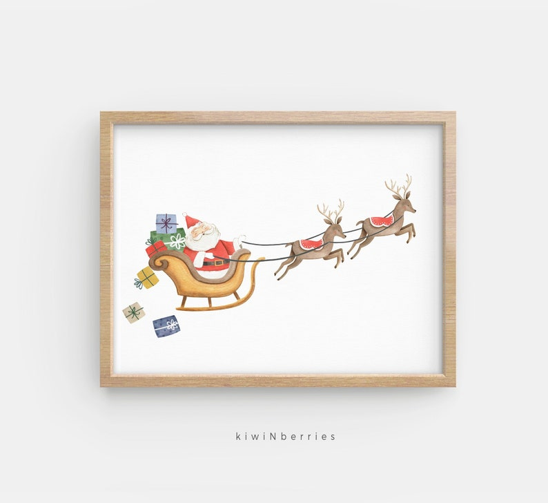 picture about Santa Claus Printable Pictures named Santa Claus print, Santa and sleigh wall artwork, Xmas printables, Xmas prints for small children, Xmas wall artwork, Santa sleigh reindeers