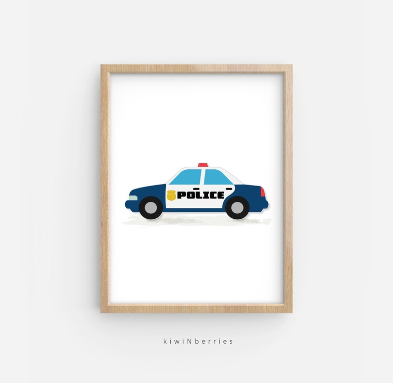 photo about Police Car Printable called Law enforcement automobile printable, Transport print, Boy house decor, Boy wall print, Printable delivery artwork, Downloadable boy present, Shipping and delivery concept