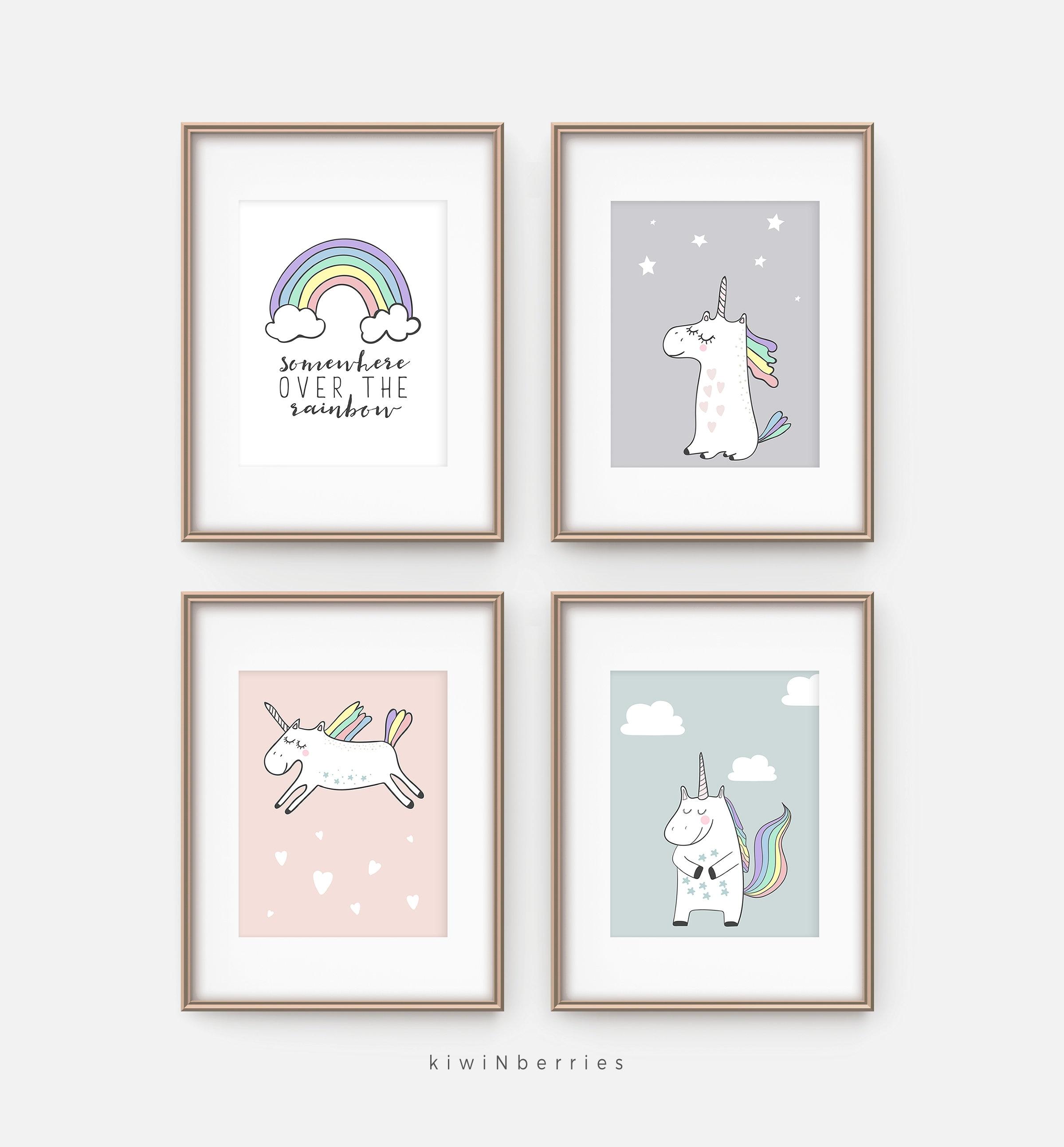 set of 4 unicorn prints unicorn wall art set girls nursery etsy. Black Bedroom Furniture Sets. Home Design Ideas