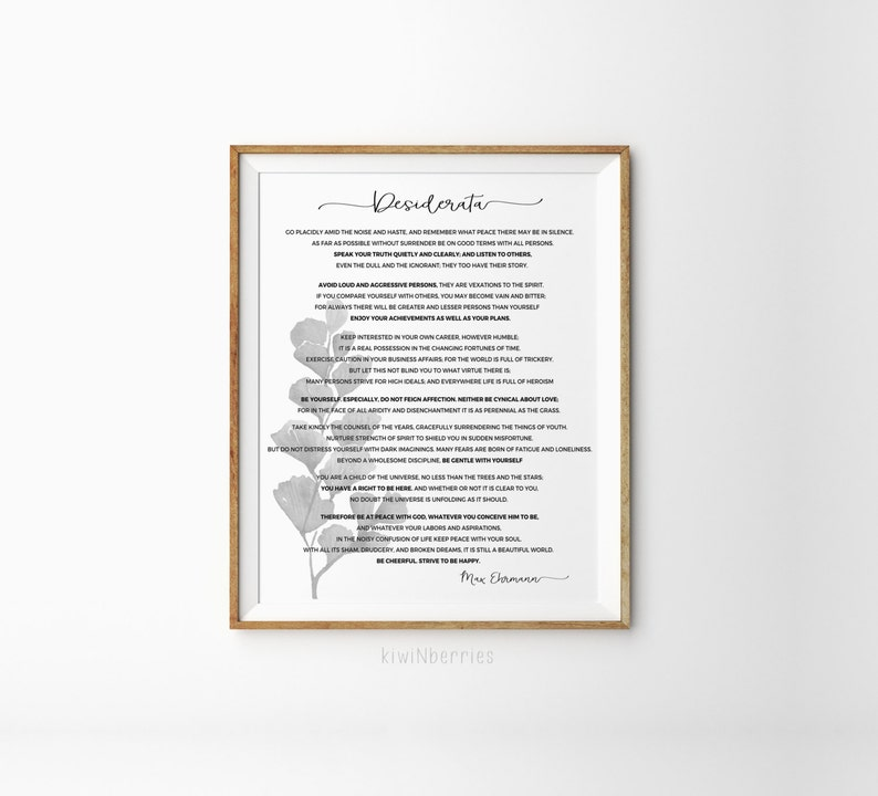 picture relating to Desiderata Printable named Desiderata wall artwork - Desiderata artwork print - Black and white - Max Ehrmann poem - Desiderata print - Desiderata poem - Minimalist artwork