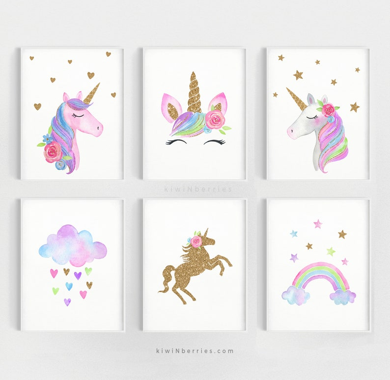 Unicorn wall art set Printable unicorn art Girls room decor image 0
