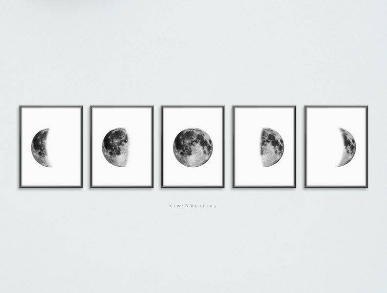 Lunar phases print Set of 5 moon phases Printable moon image 0
