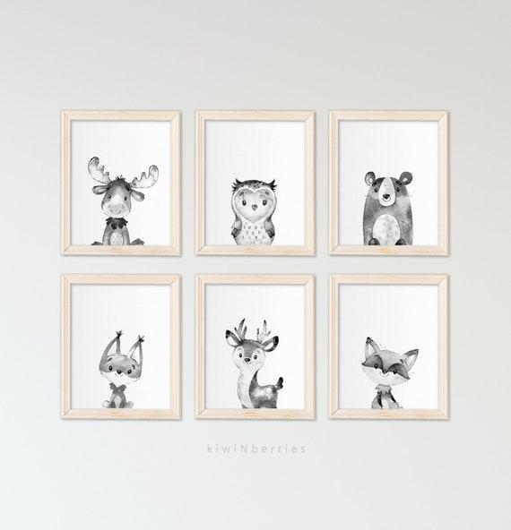 Kinderzimmer Tiere Drucke, schwarz und weiß, druckbare Kinderzimmer, Wald  Tiere, Animal-Prints, Kinderzimmer-Drucke, Baby Waldtiere