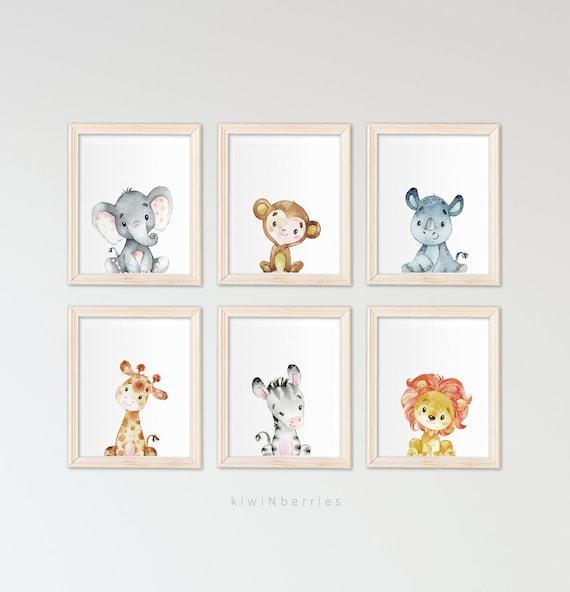 Printable Safari Animals Kids Room Wall Art Kids Wall Art Printable Art Animal Print Boys Room Wall Art Gender Neutral Printables