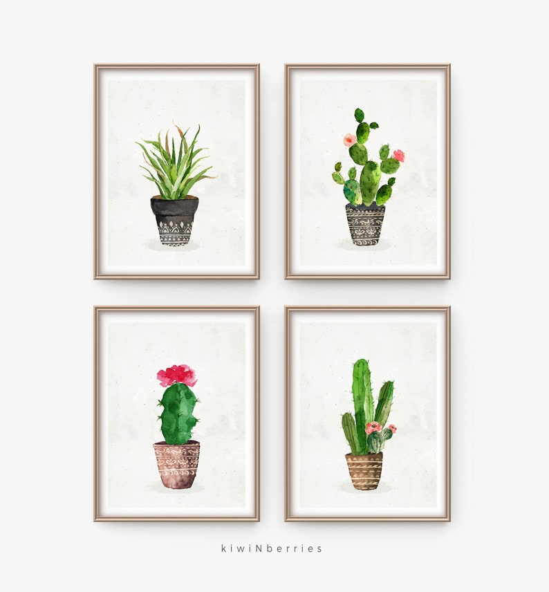 picture about Cactus Printable titled Cactus established printable - Boho cactus fixed - Cottage stylish decor - Rustic cactus artwork - Printable artwork reward - Cacti print - Watercolor cactus