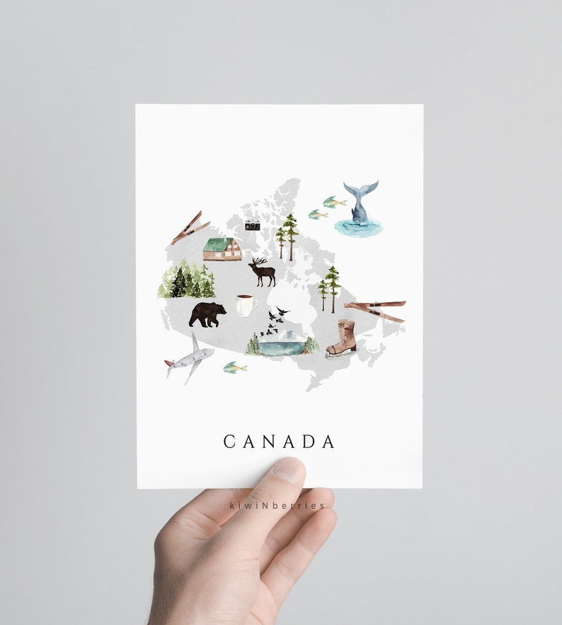 Map Of Canada Kids.Canada Map Print Printable Map Of Canada Travel Decor Kids Room Wall Art Nursery Decor Illustrated Map Animals Vegetation