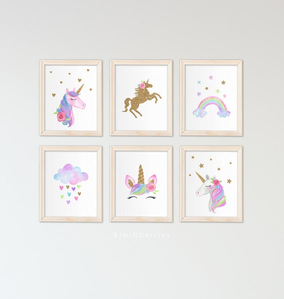 Unicorn wall art set Printable unicorn art Girls room decor | Etsy