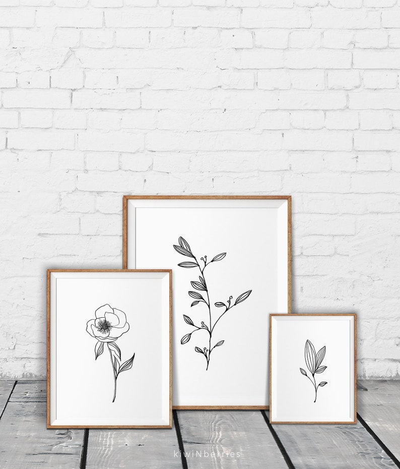 Minimalist decor Minimal wall art Pencil leaf drawings | Etsy