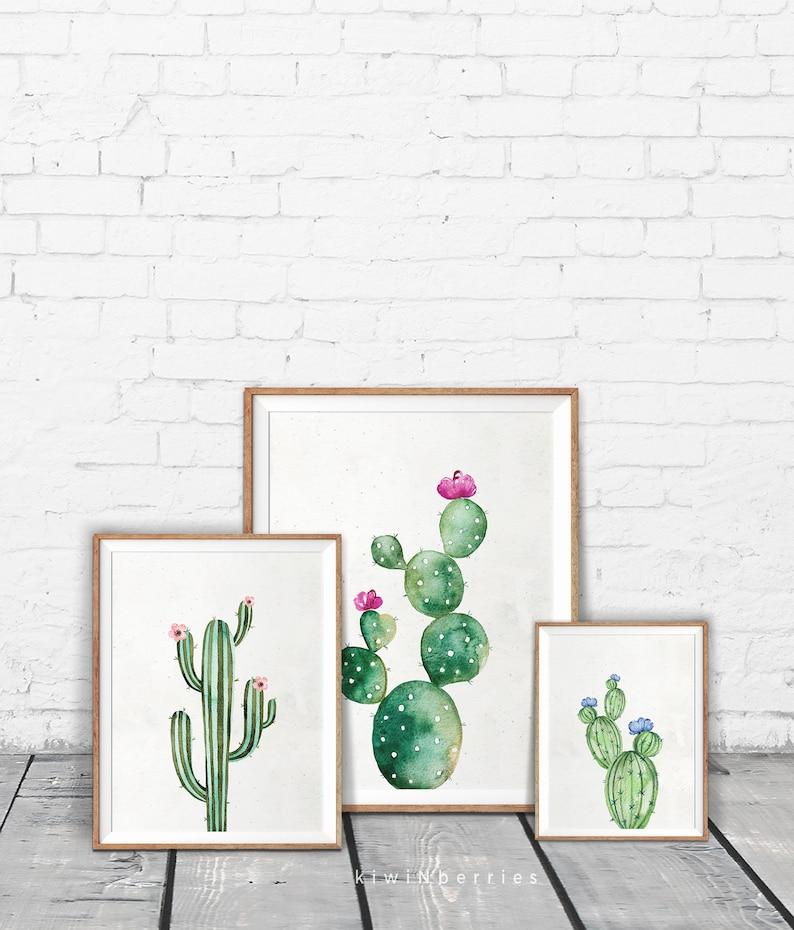Set of 3 watercolor cactus print  Cactus art print  Gallery image 0
