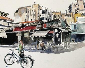 Athens Flea Market, Cycling Art, Original Watercolor & Ink Painting, City Architecture Art, Urban Landscape Art, Athens Cityscape, Wall Art