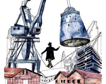 Industrial Cityscape Art Print, Surreal Art Print, Thessaloniki Architectural Print, Cranes Art, Loft Decor, Limited Edition Giclee Print
