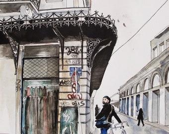 City Cycler Art Print, Athens City Art, Urban Lifestyle, Athens City Centre Architecture Print, Athens Buildings Art, Cycling Art Print