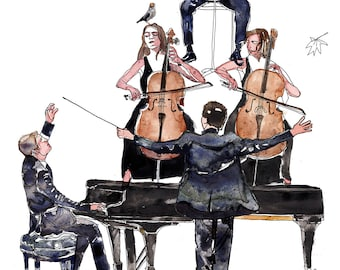 The Orchestra Print ,Music Art Print, Modern Wall Decoration, Limited Edition Giclee Print, Gift Ideas, Modern Surreal Print