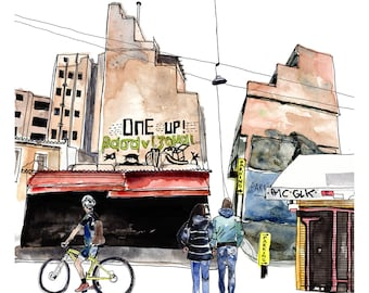 Streets of Athens Art Print, Architecture Print Athens, Urban Art Print, Cycling Art, Limited Edition Giclee Print from Watercolor Painting