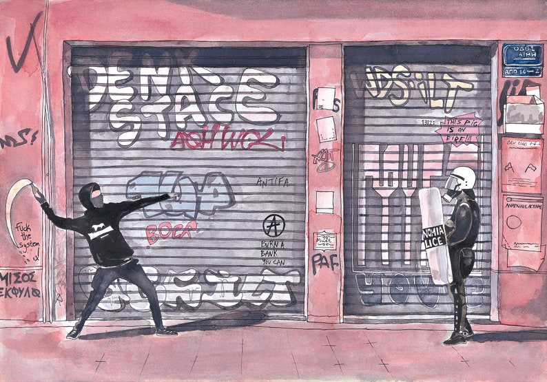 Streets of Athens Art PrintAthens Anarchy Graffiti in Athens image 0