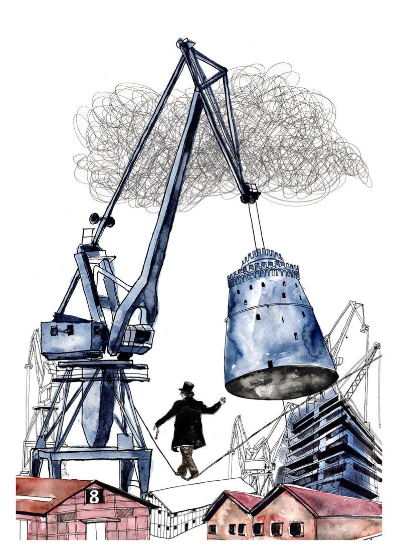 Industrial Cityscape Art Print Surreal Art Print image 0