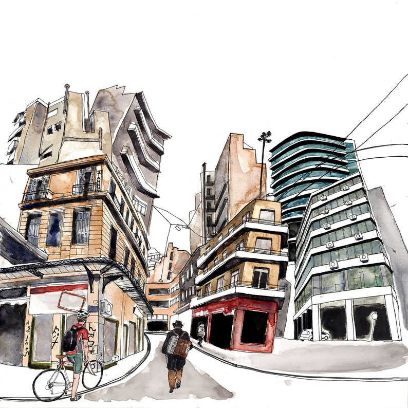 Architectural Giclee Print Athens Illustration Cycling Art image 0