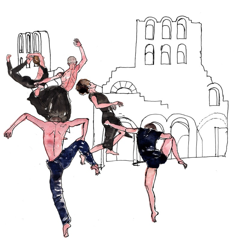 Dancers Art Print Theatre of Herodus Atticus Print image 0