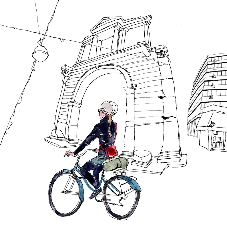 Bicycle Girl Giclee Print Athens Architecture Illustration image 0