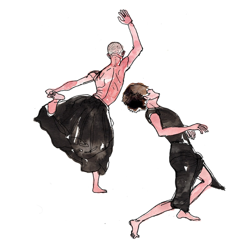 Two Dancers Contemporary Dance Print Modern Dancers  Art image 0