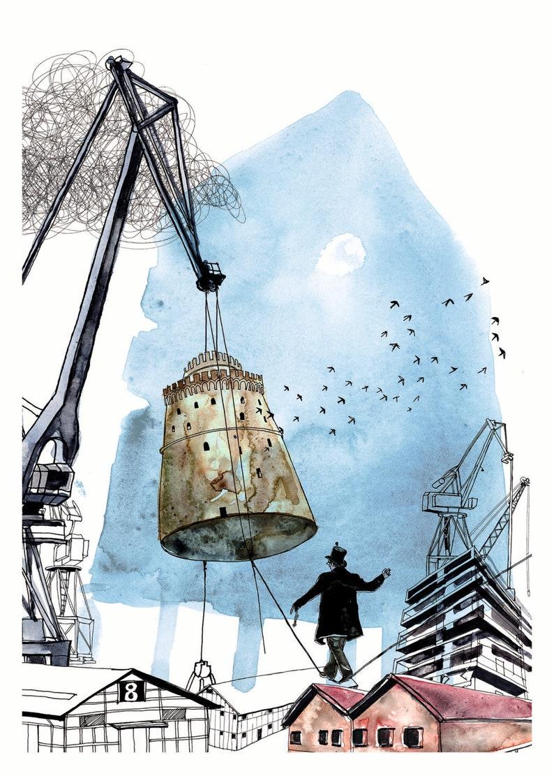 Industrial City Art Print Dreamy Artwork Industrial Cranes image 0