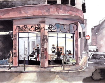 Streets of Athens Art Print, Barbershop Art Print, Modern Wall Art Print, Large Architectural Print, Urban Lifestyle Illustration