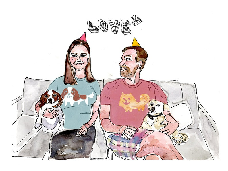 Couple Love Print Humorous Portraits Limited Edition Giclee image 0