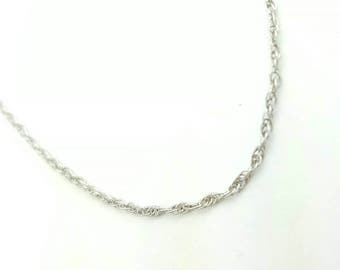 Thin Vintage Italian Sterling Silver Loose Spiral Rope Chain Necklace- 18 Inch Length