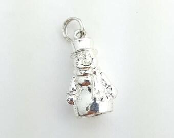 Cute Vintage Sterling Silver Three Dimensional Snowman Charm