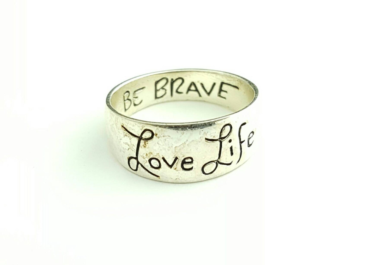 Vintage Sterling Silver Inscribed Be Brave Love Life Inspirational