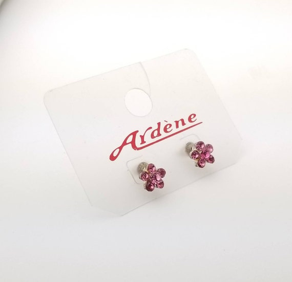 Vintage Ardene Pink Gemstone 5 Petal Flower Stud Costume Earring in Silver Tone Metal- Original Packaging