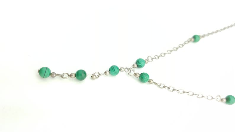 16 Inch Length Dainty Sterling Silver Malachite Beaded Chain Y Necklace
