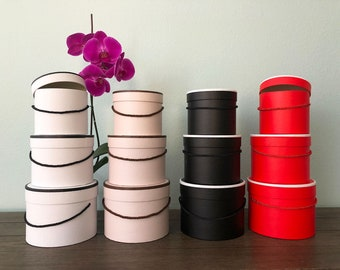 Premium Quality Round Flower Box, Gift Boxes for Luxury Flower and Gift Arrangements, Set of 3 pcs, with Lids, Size (S/M/L)