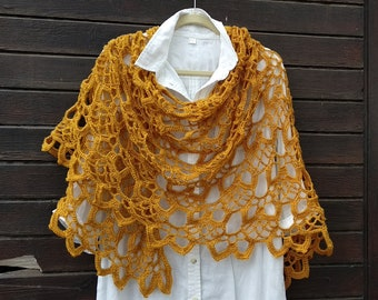 SAMPLE Gold Mustard Crochet Shawl, Boho Crochet, Rustic Shawl, Gold Mustard